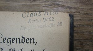 clipped address stamp of Claus Hilb